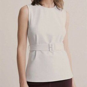 Witchery White Ponte Buckle Top Size S